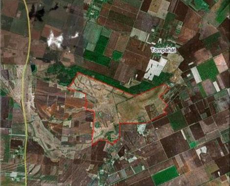 Műholdas felvétel a területről. A Kéktói puszta körülhatárolása