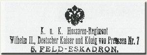 II. Vilmos nevét viselő Cs. és K. 7. huszárezred bélyegző lenyomata